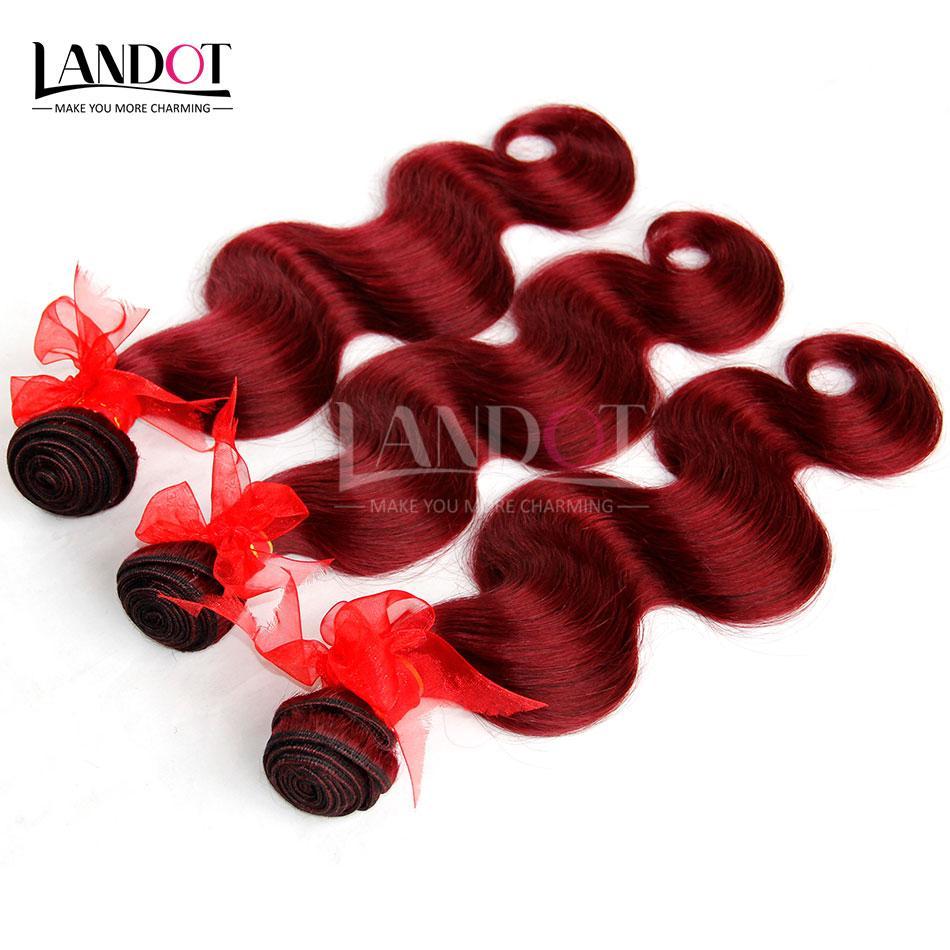 Bourgogne Brésiliens Vierge Cheveux Weave Bundles Brésilien Corps Vague Cheveux ondulés Vin Rouge 99 J Pas Cher Extensions de Cheveux Humains Tangle Gratuit