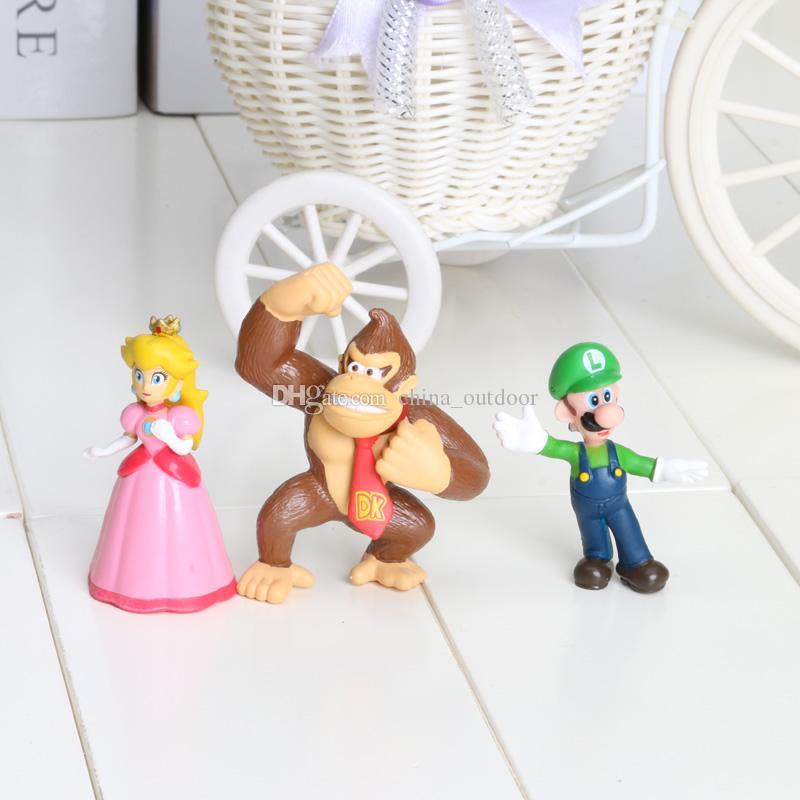 2int PVC Super Mario Bros Luigi donkey kong Action Figures youshi mario Gift OPP