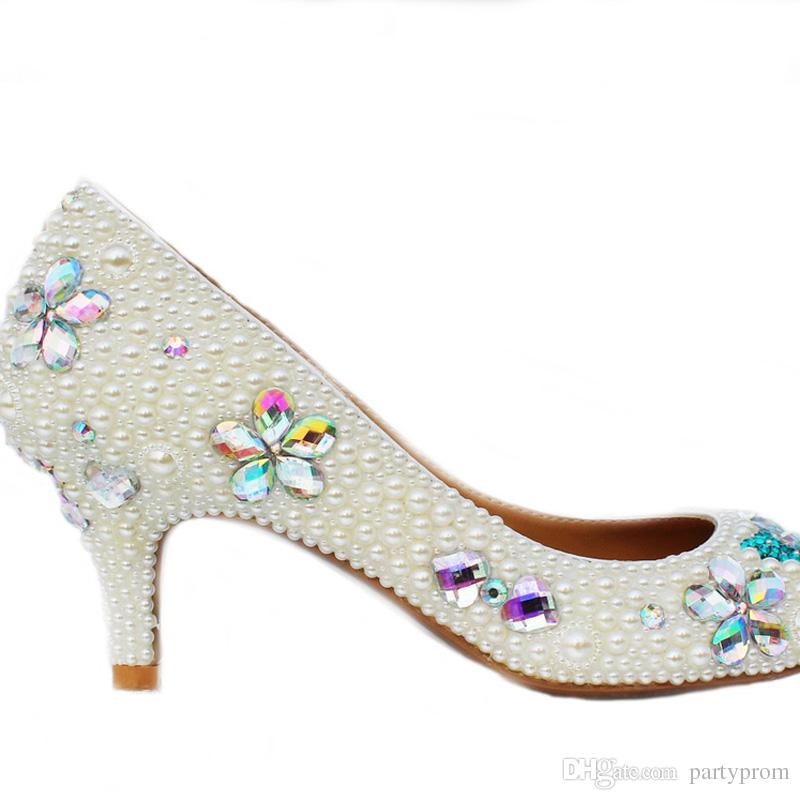 Handcraft Kitten Heel Wedding Shoes Ivory Pearl Banquet Prom Party Shoes Rhinestone Bridal Shoes Round Toe Formal Dress Heels
