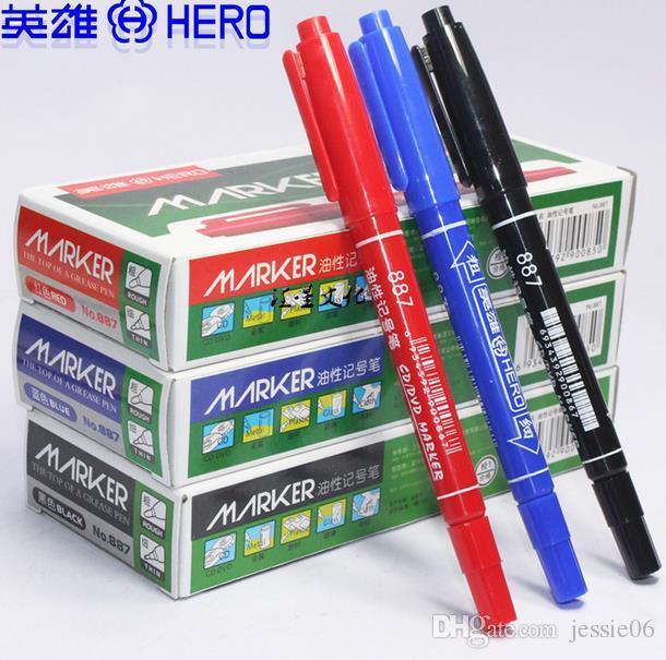 Brand new بطل اللوحة الأقلام هوك خط القلم للماء colorfast cd ماركر القلم 2 رؤساء الزيتية فن الرسم ماركر 1 ملليمتر 3 ملليمتر إسقاط الشحن