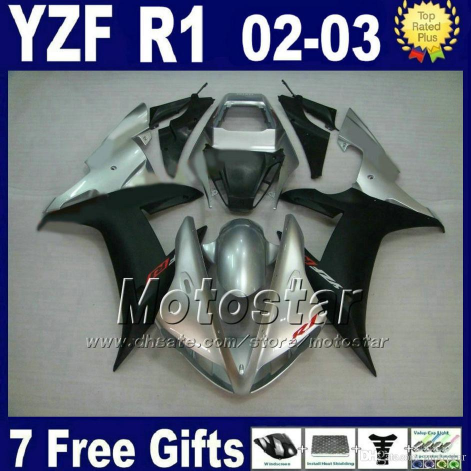 Silver matte black Pour 2002 2003 kit de carénage YAMAHA R1 YZF1000 02 03 yzf r1 kits de carénages pièces en plastique E4J9 personnaliser