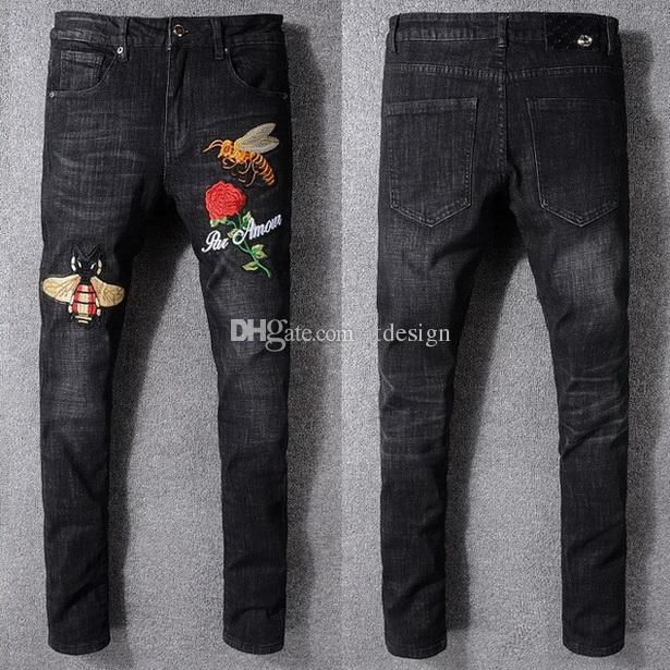 2018 black jeans men embroidery patches slim fit leg style jeans