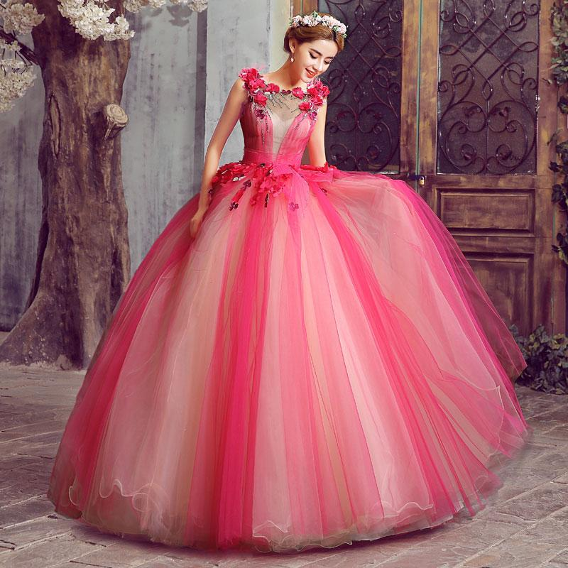 100%real Hot Pink Rhinestone Beading Ball Gown Medieval Floral Dress ... bb9c8da54a21