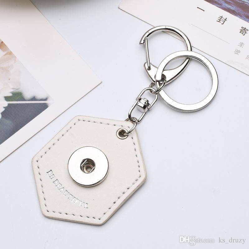 Wholesale Hexagon PU Leather Snap Button Key chain Snap Keychains Key Rings fit DIY 18MM Snap Jewelry