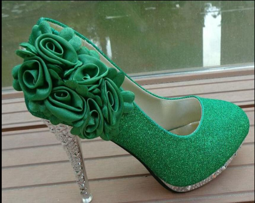 Bride Shoes Green High Heels Flowers Marriage Women S