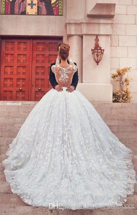 2019 Melhor Venda Lindo A Linha de Vestidos de Casamento Lace Applique Pescoço Puro Sexy Voltar Manga Longa Trem Da Varredura Vestidos de Noiva