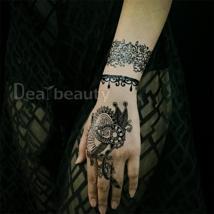 New Diy Tattoo Sticker Bridal Black Lace Flower Wedding Bridal Henna