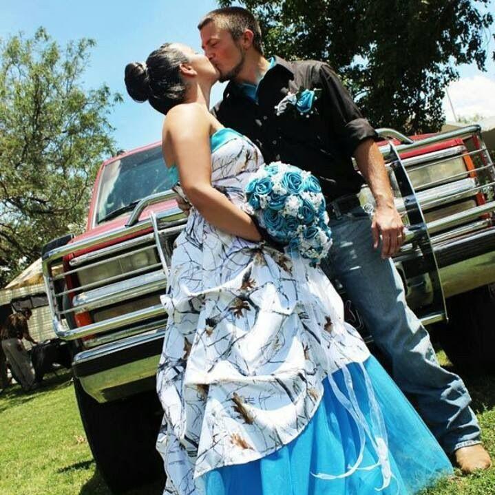 White And Blue Camo Pickup Dresses Strapless Satin Snow Camo Wedding ...