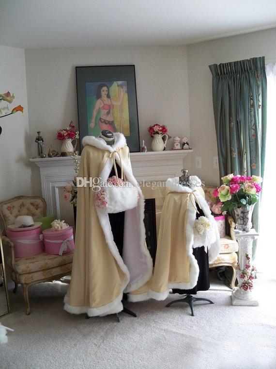2018 Impresionante palabra de longitud Champagne Color Capas nupciales Capas de boda Faux Fur Perfecto para la boda de invierno Capas nupciales Cape Wedding Cape