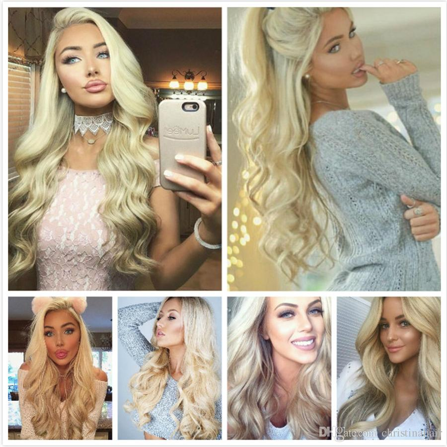 Cambodian Body Wave Virgin Hair Grade 8A Color #613 Bleach Blonde Human Hair Weave Bundles Remy Extensions 10-30Inch Double Wefts