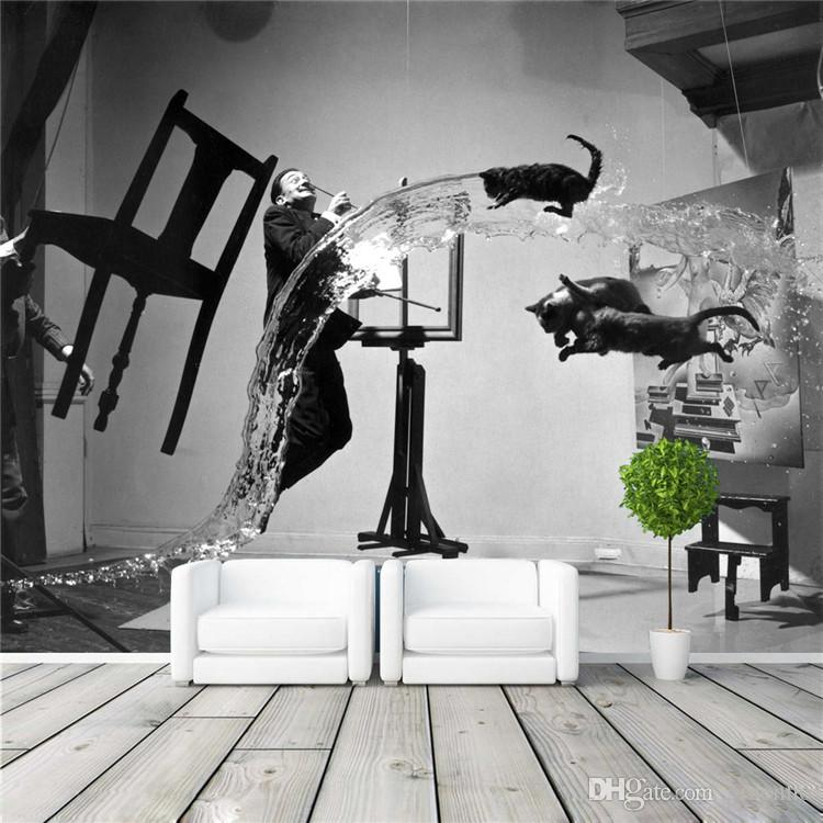 Beautiful Painter Dali Photo Wallpaper Black And White Wall Mural Custom Art  Wallpaper Room Decor Painting Wall Art Kid Room Bedroom Modern Decoration  Landscape ... Part 2