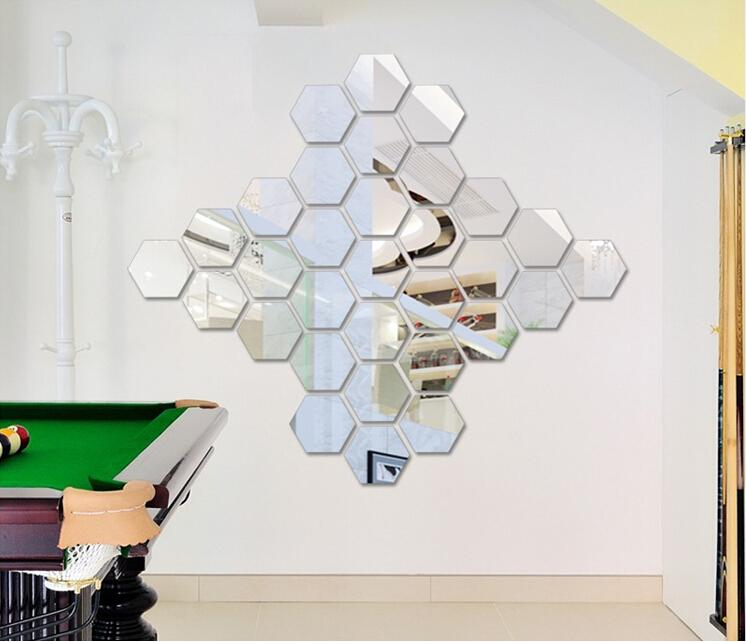 Modern Geometric Wall Sculpture 3d Silver Mirror Surface Hexagon Acrylic Sticker