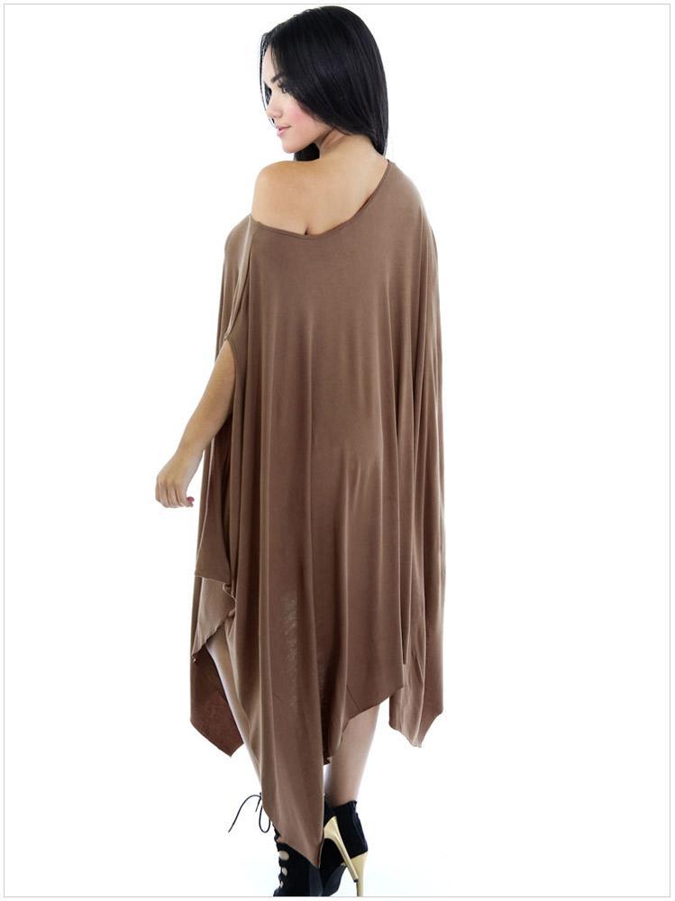 2016 Women Fashion Dresses Europe Style Oblique Neck Ruffle Batwing Sleeve Asymmetrical Draped Loose Sexy Mini Clubwear Dresses for Womens