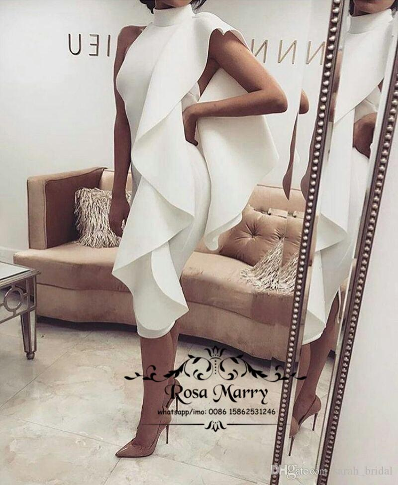 Sexy White Black Mermaid Arabic Cocktail Party Dresses 2017 Plus Size Tea Length Ruffles Cheap Dubai African Formal Evening Prom Gowns