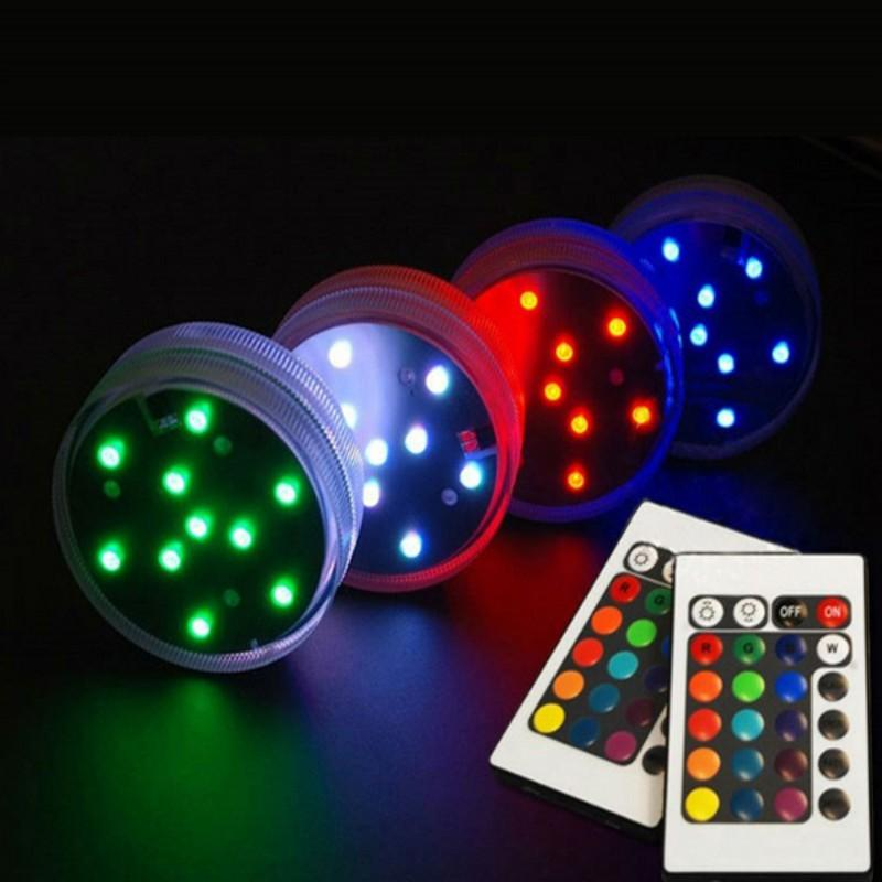 10pcslot Submersible Led Light Remote Controlled Battery Operated Rgb Multi Colors Light For Wedding Party Decoration