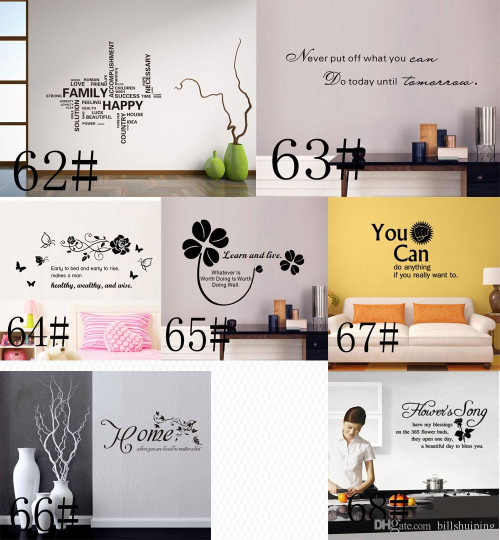 Mischauftrag 180 Styles Zitate Wandaufkleber Aufkleber Worte Schriftzug Spruch Wand Dekor Aufkleber Vinyl Tapete Kunst Aufkleber Decals