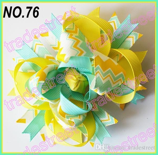 4.5'' chevron hair bows boutique hair bows layered corker bows