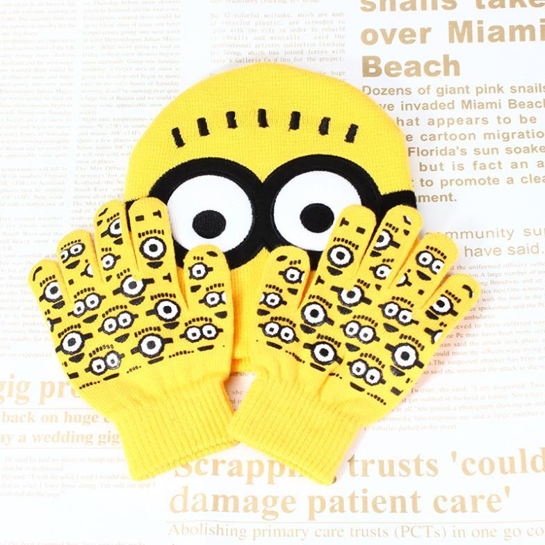 44ccf95f4ccd7 One Set Boys Girlds Despicable Me Minions Gloves Hat Set New Winter ...
