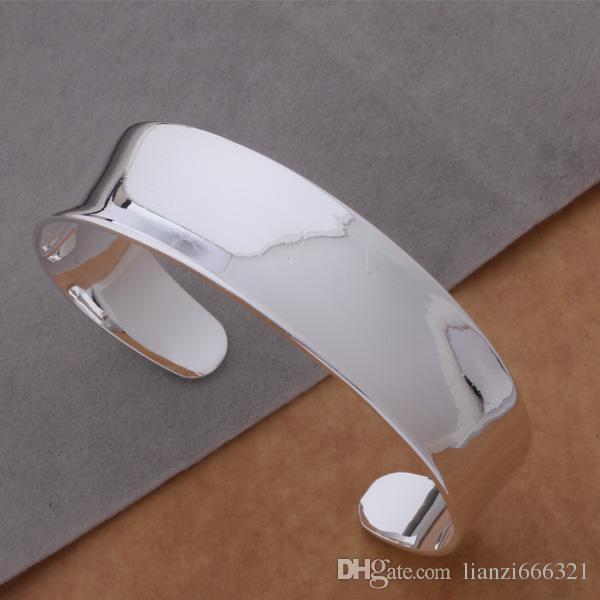 Бесплатная доставка с отслеживая номером Лучший новый стерлингового серебра 925 большой гладкой широкий манжеты браслеты браслеты 12 мм Рождество GIFTJEWELRY 1312