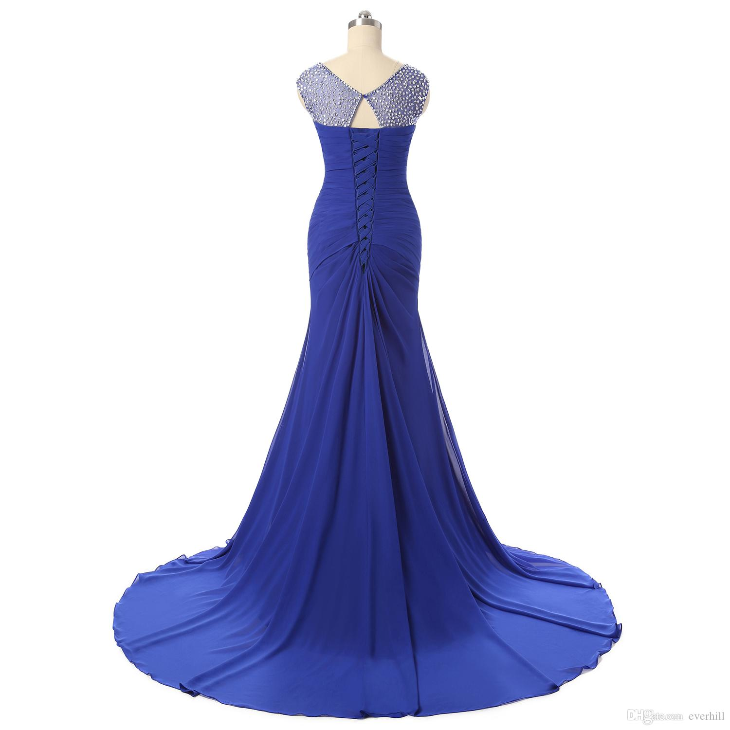 New Royal Blue Mermaid Long Evening Dresses For Women Crystal Beaded Court Train Prom Gowns Formal Dinner Party Dress Vestido Festa Longo