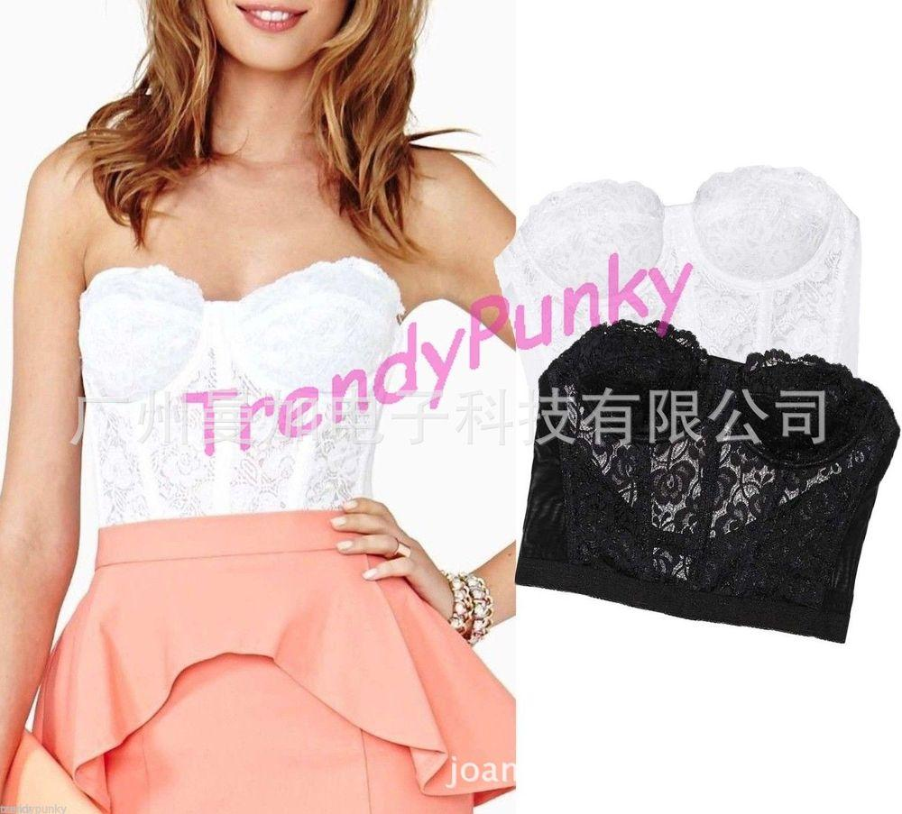 e90e32007a323 2019 Floral Lace Bustier Crop Top Bra Bralette Corset Strapless Bodycon Tank  Cami Sexy Corselet Camis Fashion Tops Drop Shipping From Qiu03