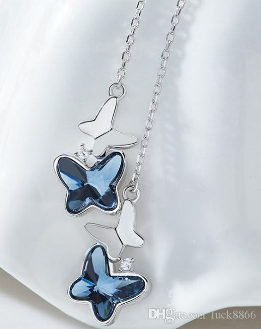 Kleiner frischer blauer Schmetterling, besetzt mit Kristallohrringen aus 100% S925-Sterlingsilber
