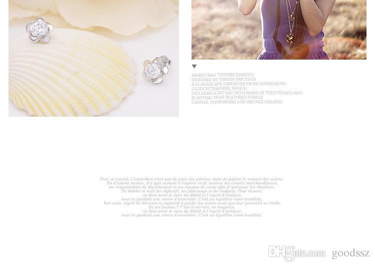 925 스털링 실버 스터드 귀걸이 패션 주얼리 다섯 잎 여성 지르코니아 크리스탈과 우아한 스타일 귀걸이 소녀