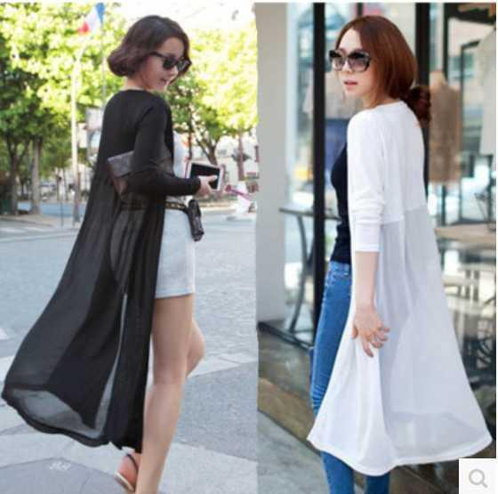 Modal female summer sun protection clothing long-sleeved chiffon stitching long section of female summer thin shawl cardigan jacket
