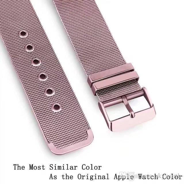 Cinturino in acciaio inossidabile di lusso Milanese con cinturino orologio Apple 4 3 2 1 cinturino con cinturino in pelle con cinturino da polso 38 / 42mm 40 / 44mm