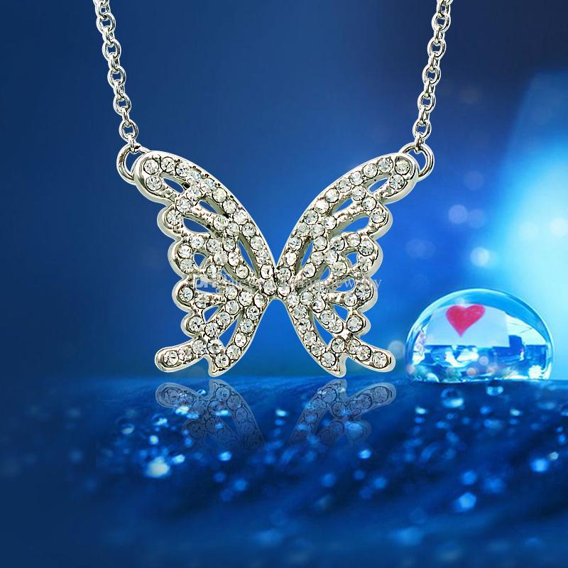 Brand New Fashion Butterfly Pendant Necklace Silver Plated White Rhinestone Necklace For Women Valentine's Gifts Jewelry