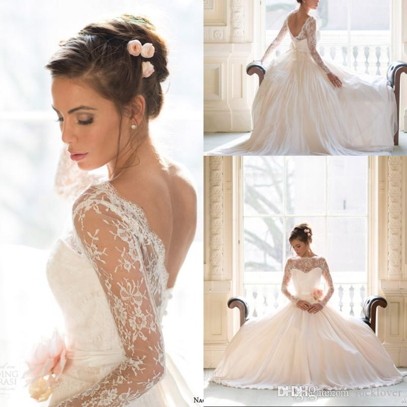2016 Vintage Wedding Dresses Lace With Long Sleeves Plus