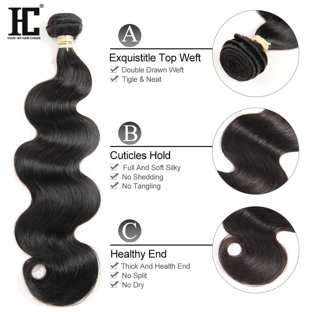 HC Hair Brezilyalı Vücut Dalga İnsan Saç Paketler 3 Paketler ile Dantel Frontal Remy Saç Dokuma Paketler 13x4 Frontal