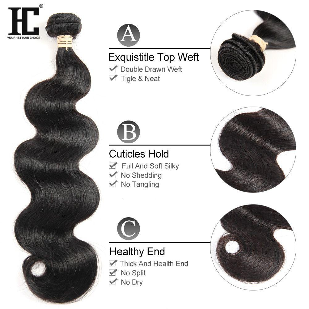 Onda do corpo HC cabelo brasileiro do cabelo humano Pacotes 3 Pacotes com laço frontal Remy Cabelo Weave Pacotes 13x4 frontal