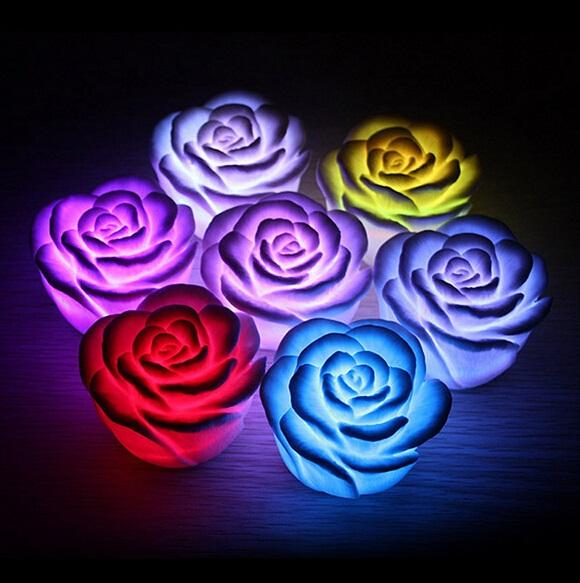 7 color changing led light Romantic rose led light rose led lamp Flashing light for Valentines day gift wedding gift free shipping in stock