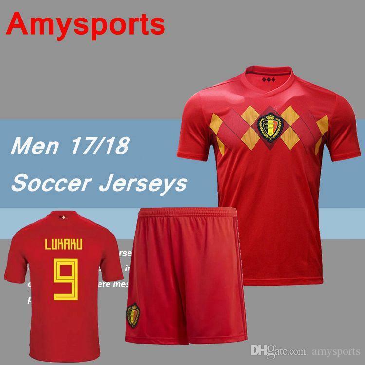 reputable site 816c0 c7992 Belgium Soccer Sets 2018 home Red LUKAKU HAZARD VERMAELEN Kompany DE BRUYNE  Fellaini Men kits 17/18 Belgium soccer jersey shirts