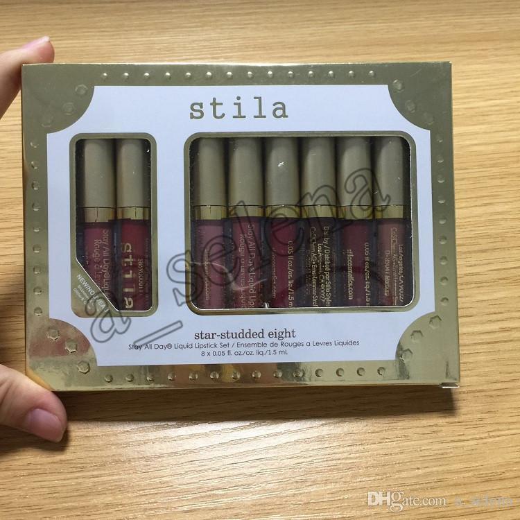 Stila Star-studed oito ficar todos os dias Líquido batom set / caixa de longa duração cremoso shimmer líquido batom labial gloss