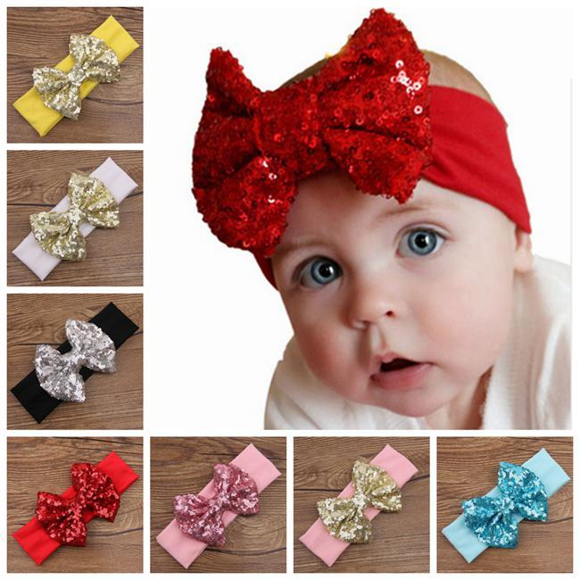 Baby Big Sequins Bow Headbands For Girls Kids Christmas Hair Bows Babies  Elastic Headbands Head Wrap Hair Accessories Hairbands Wholesale Hair  Accessories ... a2c7e8b3c82