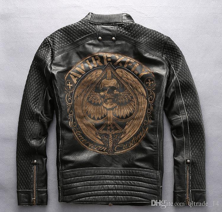 Chaqueta de cuero genuino 100% cuello alto del pie Avirex fly chaquetas de los hombres chaquetas de moto slim fit