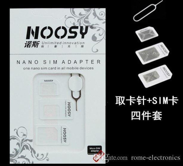 4in1 Dönüştürme Nano SIM Kart Mikro Standart SIM Adaptörü iPhone4 Için Set 4 S 5 5 S 5C + Ücretsiz Ince Tepsi Çıkarma Pin leri