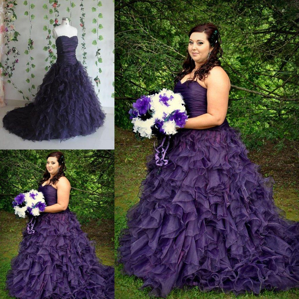 striking purple a line gothic halloween wedding dresses 2015 new sweetheart ruched full length custom made plus size bridal gowns plus size cocktail dresses - Halloween Wedding Gown