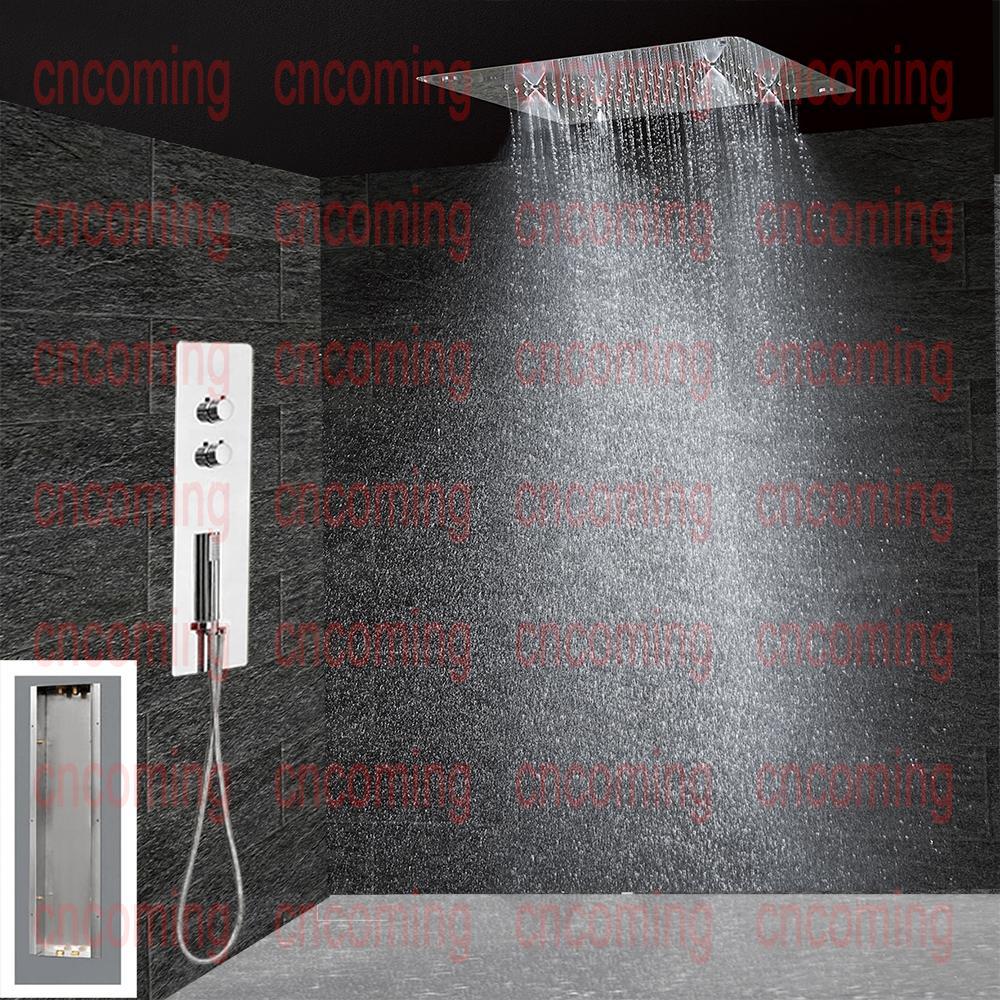 Cuarto de baño oculto Panel de la ducha montado en la pared termostática Válvula de control de temperatura Grifo mezclador Grifo Cabezal de ducha de lluvia Lluvia Niebla BF5203