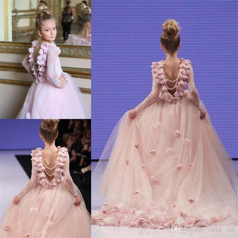 Girl Pageant Gowns For Teens Lace Appliques Long Sleeves Communion Dress  Princess Prom Party Dresses Pink Flower Girls Dresses For Weddings Girls  Wedding ... b97338a13a63