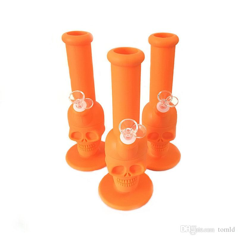 New Design Silicone Hookah Shisha Bong Skull Head Silicon Water Rig For Smoking With Various Color