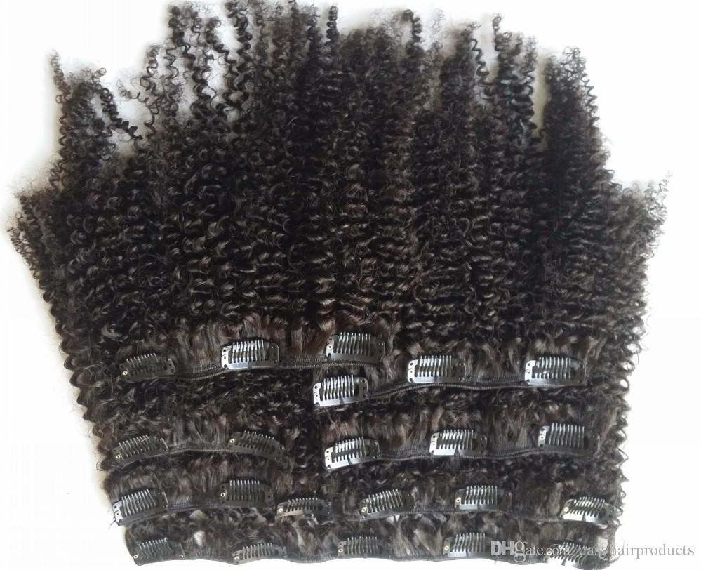 Cheveux vierges mongoles africaine afro-américaine afro crépus bouclés pince à cheveux dans les extensions de cheveux humains clips noirs naturels ins G-EASY