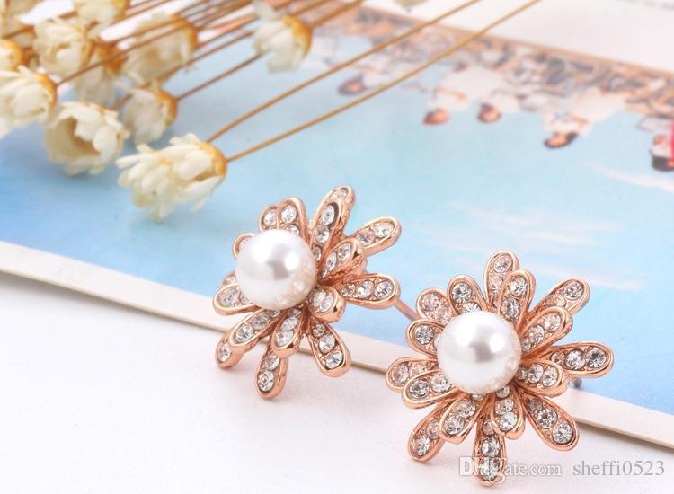 Bloem parel sieraden sets ketting oorbellen sets mode kristallen sieraden voor vrouwen beste cadeau 18k vergulde fijne sieraden 41H41