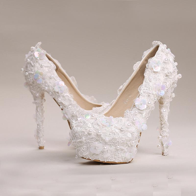White Pearl Sequins Lace Wedding Shoes High Heels Platform Dress Shoes Beautiful Party Prom Shoes Bling Bling Bridesmaid Shoes
