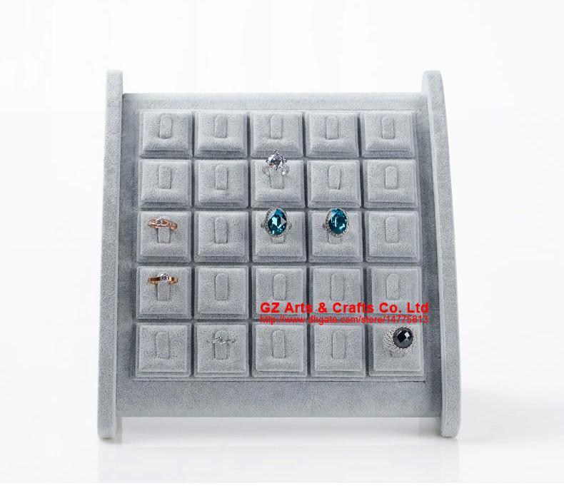 Di alta qualità grigio ghiaccio anello di velluto gioielli display stand titolare anelli display rack puntelli accessori di decorazione