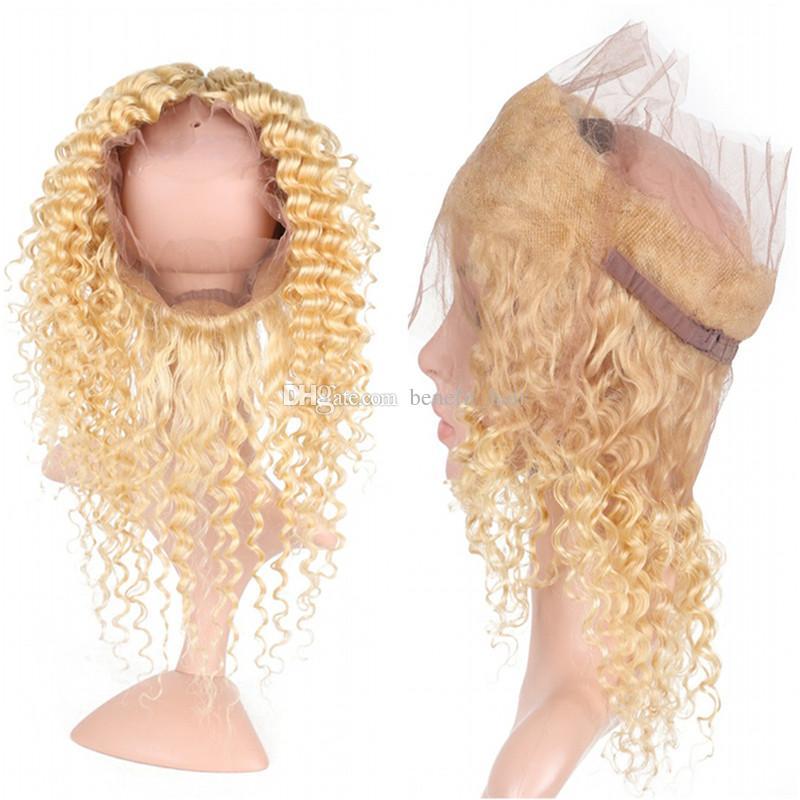 Profondément bouclé pré pincé 360 frontal avec Blonde 613 cheveux 3Bundles cheveux brésiliens vague profonde avec 360 Full Lace Frontale /