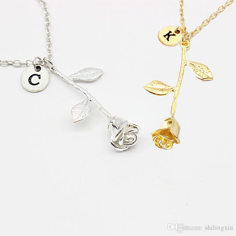 Wholesale 26 letter personalized name jewelry rose engrave letter wholesale 26 letter personalized name jewelry rose engrave letter discs choker monogram flower custom necklace pendant for trendy woman pendant for necklace aloadofball Image collections