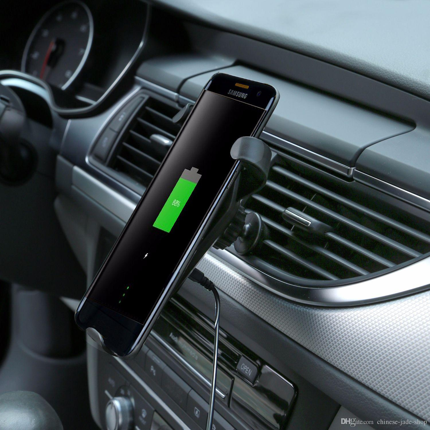 QI 9V Fast Wireless Caricabatterie Supporto da auto Supporto Air Vent Stand iPhone 8 X Samsung Galaxy S6 S7 S8 Plus IN REATIL /